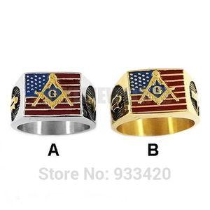 Großhandel amerikanische Flagge freimaurerischen Biker Ring Edelstahl-Schmuck Gold, Gold USA Flag Motor Biker Mann-Ring SWR0634B