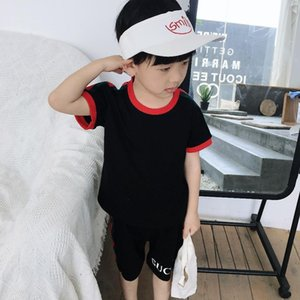 Boys girls Two-piece set print outfits stripe lovely pictures top +Letter printing shorts summer high quality kids Clothing Sets sup-er11