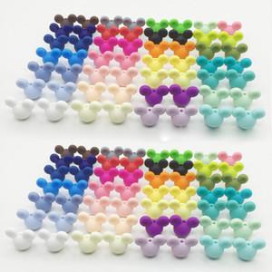 50pcs / lot 24mm BPA BPA Bancio Silicone Silicone Silicone Silicone Perle di dentizione di gradazione per perline del fumetto di silicone fai da te design allentato