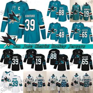 San Jose Sharks forması 39 Couture 8 Joe Pavelski 88 Brent Burns 65 Erik Karlsson 19 Thornton 48 Hertl Yeşil Beyaz Hokeyi Formalar