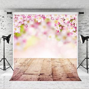 Sogno 5x7ft Cherry Blossoms plance Fotografia Sfondo di legno Sfondo Photo Booth per Bambini tiro del ritratto sfondi Studio Prop