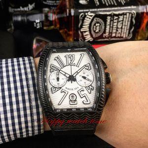 Alta versão forma New SARATOGE COBRA V 45 SC DT Aceno Dial Caso de aço Japão VK Quartz Chronograph Mens Watch Black Rubber Strap Relógios