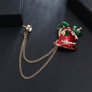 Bell chain gift for woman red green christmas brooch festival personality cute creative jewelry celebration special golden
