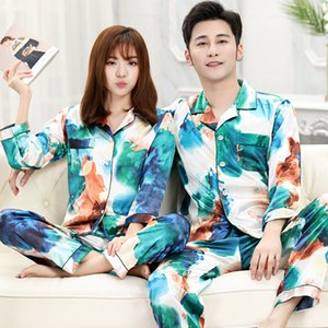 Fashion casual couple pajamas women spring and summer ice silk fashion cute home dress men's long sleeve suit size