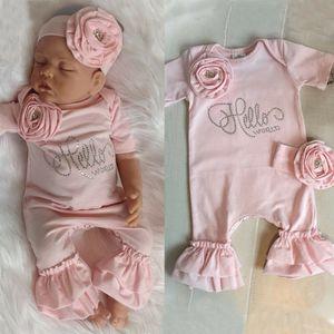 US STOCK 0-18M Newborn Baby Girls Flower Romper Bodysuit Jumpsuit Headband Outfits Summer Fashion Sweet Cute Soft Long Sleepwear Sleepers