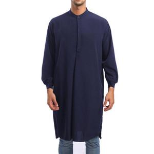 Мужская одежда Мантия с длинным рукавом саудоаравийском Thobe Джубба Thobe Человек Кафтан Ближний Восток Исламская Джубба мусульманская рубашка Мужской