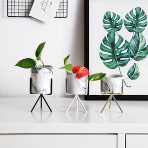 1 PC Nordic Minimalism Style Marble Pattern Golden Ceramics Iron Art Vase Tabletop Flower Pot Home Wedding Living Room Decor