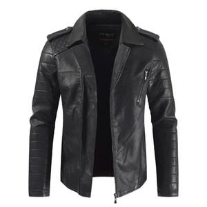 Erkek ceketler Sonbahar ve Kış Moda Casual Katı Renk Yaka Yaka apolet Lingge Lokomotif Deri Ceket Büyük Beden M-5XL