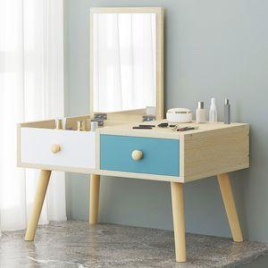 Table de maquillage moderne avec miroir en bois massif Artificielle Conseil jambe Coiffeuse MDF Creative Makeup Table Bedroom Furniture Dresser