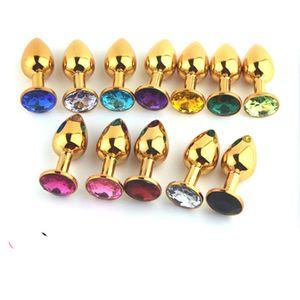 Ouro Metal Mini Brinquedos Anal Butt Plug Booty Beads Sex Toy Aço Inoxidável Jóias de Cristal Sex Toys 72 * 28mm tamanho pequeno