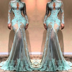 2019 High Neck Gorgeous Long Sleeves Mermaid Evening Dresses See Through Lace Formal Prom Dresses Cutaway Side Celebrity Gowns BC0003