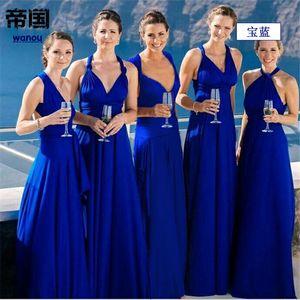 Verano NUEVA Moda Maxi Vestido de Las Mujeres Azul Real Elegancia Profundo Cuello En V Sin Mangas Bow Nudo Partido Boda Noche Vestido Largo