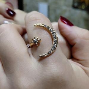 Kadınlar Rose Gold Silver Moon Star Diamond Toptan İçin Ayarlanabilir Yüzük Açılış Yeni Moda Band Yüzük 925 Gümüş Jewerly