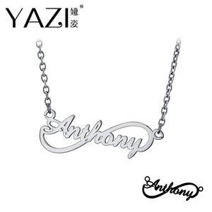 Yazi Personalisierte Namenskette 925 Sterling Silber Unendlichkeit Anhänger Gravierte Single-Name Amuletten Speicher Geschenk für Freund
