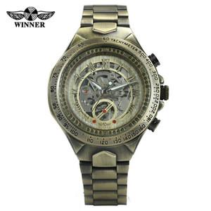 Хорошие новости победитель мужчины автоматические часы новые старинные бронзовые механические часы 10 м водонепроницаемый из нержавеющей стали бизнес часы