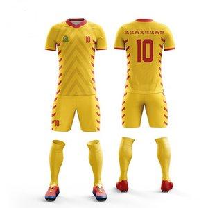 Новый летний футбол тренировочный костюм мальчики футбол Джерси мужчины футбол комплекты пустой с коротким рукавом наборы DIY рубашка фитнес спортивная одежда