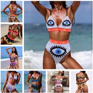 Maillot de bain imprimé oeil de femme 2019 été deux pièces maillot de bain lettre de mode Bikinis maillot de bain de maternité C6333