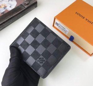 Cuero M60895 Cartera Brown diseñador de los hombres corto Monedero de la mano la tarjeta de crédito del monedero de la manera de tamaño cartera 11.5 * 9 cm con la caja
