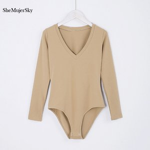 SheMujerSky V Neck Bodysuit Women Bodysuits Long Sleeve For Women Autumn Jumpsuits Playsuit Womens Rompers Y200701