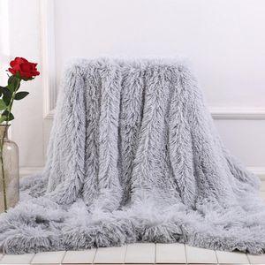 Suave manta manta de piel de cama larga Shaggy Fuzzy imitación de piel Mantas de invierno para Sofá cama caliente acogedora Con mullido Sherpa
