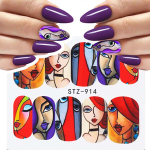 16pcs / set Colorful Human Face Dail Art Sticker Full Wrapts Set Girl Tatto Manicure Tips Nail Water Decals Insuments CHSTZ906-921