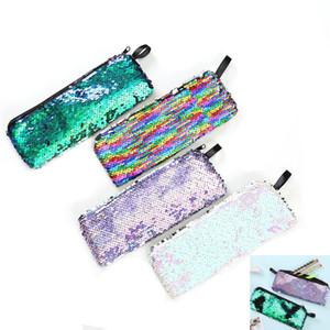 Sirena lentejuelas bolsa de maquillaje para las mujeres caja de lápices linda para el estudiante de la cremallera bolso de embrague bolsa de almacenamiento de cosméticos bolsas de monedas HH7-2065