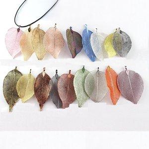 Mix Unique Size Metal Real Leaf Big Charm Pendant For Jewelry Bracelet Necklace Accessories Wholesale