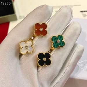 Vintage Alhambra Кольца с Кристал Роскошная 18K Золото Зеленый Белый Красный Черный Four Leaf Clover кольцо ювелирные изделия для женщин