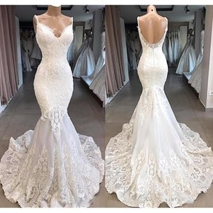 Vintage Slim Wedding Dresses Mermaid With Lace Spaghetti Straps Garden Bride Bridal Gowns Custom Made Plus Size