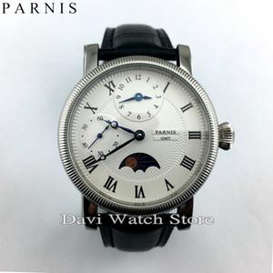 Reloj de los hombres 42 mm repujado GMT cuerda manual romano numberwhite Dial reloj para hombre todo el precio de venta envío gratis