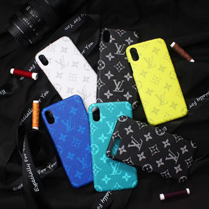 Colorful Designer Phone Moda Luxo Capa para iphone 11 pro Max X XR Xs max 7 8plus Moda Shell duro couro gravado Phone Case A10