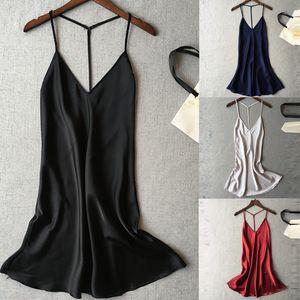 Женские спящие одежды Vaatee лидер атласная ночная обработка подол платье платье ночной белье V-образным вырезом без рукавов белье нижнее белье нижнее белье