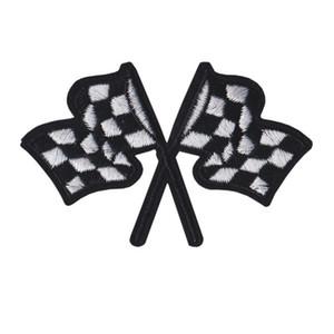 Işlemeli Yama Araba Yarışı Bayrakları Dikmek Için Demir On Nakış Yamalar Rozetleri Çanta Kot Şapka T Gömlek DIY Aplikler Craft Dekorasyon