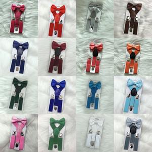 23 Renkler 1-10T Bebek Braces Elastik Y-geri Erkekler Kızlar Suspenders Aksesuarlar kemer C1929 için Çocuk Suspenders Papyon Seti