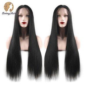 Berimy Düz Dantel Ön İnsan Saç Peruk Öncesi Klumped Saç Çizgisi 150% 180% Yoğunluk Yoğunluğu 13x4 Dantel Ön Peruk Brezilyalı Peruk Remy Saç Peruk