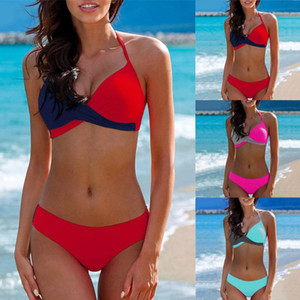 Womens Colorblock Biquini Padded Push-up Bra Bikini Two-Piece Set Swimsuit Bathing Suit Swimwear Beachwear Swimming Costume