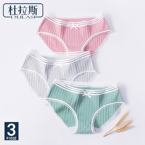 Cotton Bow Panties Women Underwear Striped Briefs Breathable for Girls Panty Lady Mid-Waist Seamless Underpants DULASI 3pcs lot