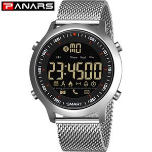 PANARS Digital relógio inteligente Homens Pedometers mensagem de lembrete impermeável Sport relógio Bluetooth relógios de pulso para iOS Android 8302