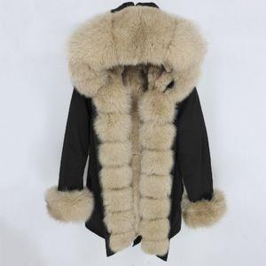 OFTBUY водонепроницаемый Parka 2020 Real Шуба Зимняя куртка женщин Природные енота меховой воротник капюшон Real меха кролика Liner Съемные