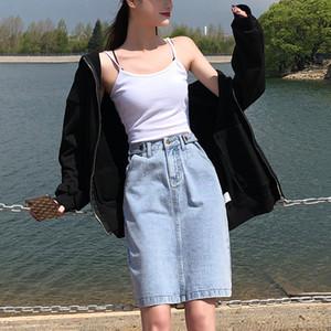 High Waist A-line Denim Skirt Women Vintage Loose Plus Size Elastic Jean Skirt Summer 2020 Straight White Black Pencil