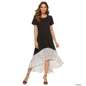 womens designer stitching polka dot casual dressIXO6 LTVV