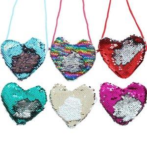 Simpatica borsa a forma di cuore diagonale a spalla singola con cordino sirena paillettes portamonete piccole monete borse da viaggio per ragazze 3sm E1