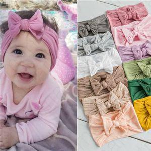 Модули девочки бантики узел крест повязка на голову младенческой богемной сплошной цвет ободки для волос группа новорожденных детей мягкие ободки обернуть голову тюрбан D31101
