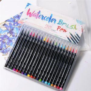 20 Colors Painting Soft Brush Pen Watercolor Marker Pen Premium Art Markers For Coloring Calligraphy Manga Manga Comic SH190908