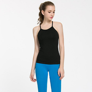 Gros-LU-19 Backless yogaTops avec soutien-gorge Couleurs solides Femmes Mode Outdoor Yoga Tanks Power Sports Courir Vêtements Gym