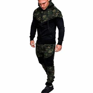Mode Hommes Mode Manches longues Splice Camouflage Imprimer Hoodies Sport Sweat-shirt Manteau Mâle Casual Zip Up Sweat À Capuche Jac