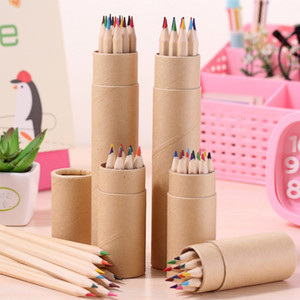 Paketlenmiş 12 Adet Renkli Kalemler Sevimli Karikatür Kalemler Durumda Sanat Renk Çizim apices colores