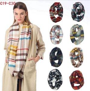 격자 무늬 반지 스카프 12 개 색상 무한 목도리 랩 루프 스카프 뜨개질 다기능 여성들의 머리 수건 착용 여성 Neckchief LJJO7150