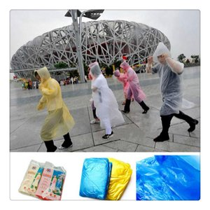 Wholesale-New Travel Equipment Adult Emergency Disposable Raincoat Outdoor Hiking Camping PE Transparent Rain Coat Poncho Gift