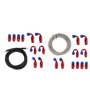 2x AN6 Nylon and Stainless Steel Braidied Oil Gas Fuel Hose Fuel Line + 20pcs Hose Fitting Kit